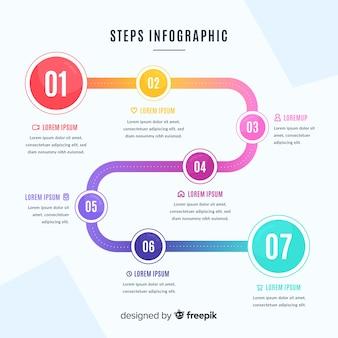 Design piatto per il modello passi infografica
