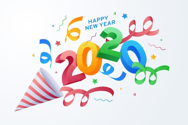 Design piatto per il nuovo anno 2020 sfondo