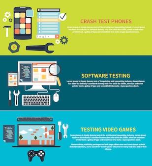 Design piatto per l'analisi del test di codifica del processo di workflow dello sviluppo software. test dei videogiochi. icone di sviluppo del gioco. riparazione del telefono cellulare. crash test phones