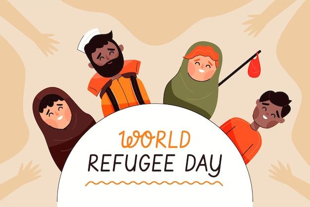 Design piatto per la giornata mondiale del rifugiato