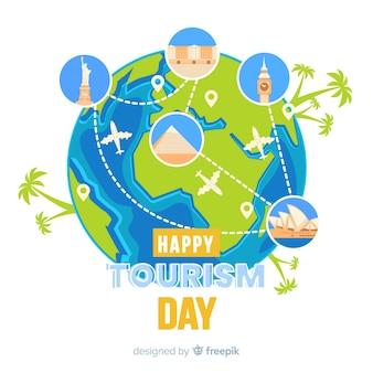 Design piatto per la giornata mondiale del turismo