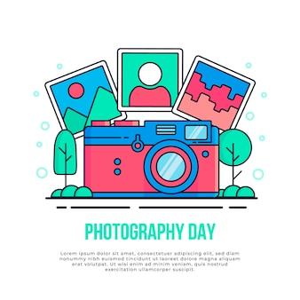 Design piatto per la giornata mondiale della fotografia