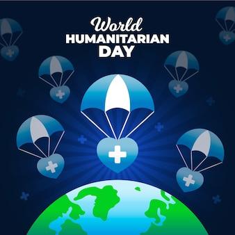 Design piatto per la giornata umanitaria mondiale