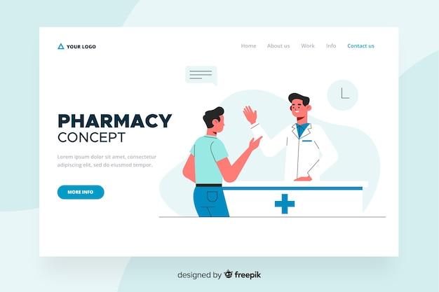 Design piatto per la landing page della farmacia