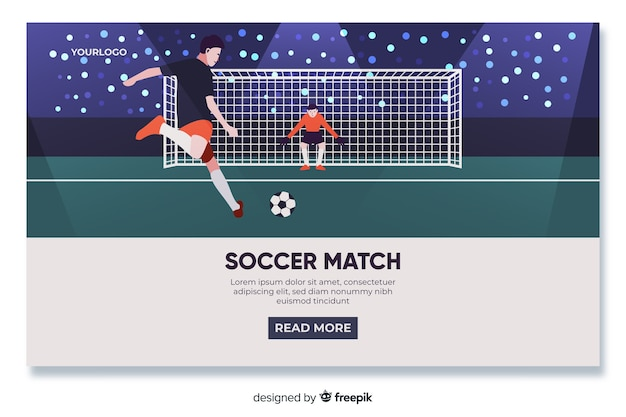 Design piatto per la pagina di destinazione del calcio