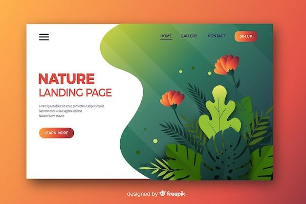 Design piatto per la pagina di destinazione della natura