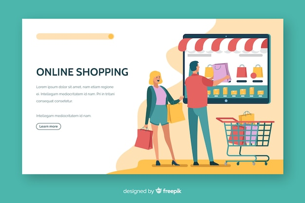 Design piatto per la pagina di destinazione dello shopping online
