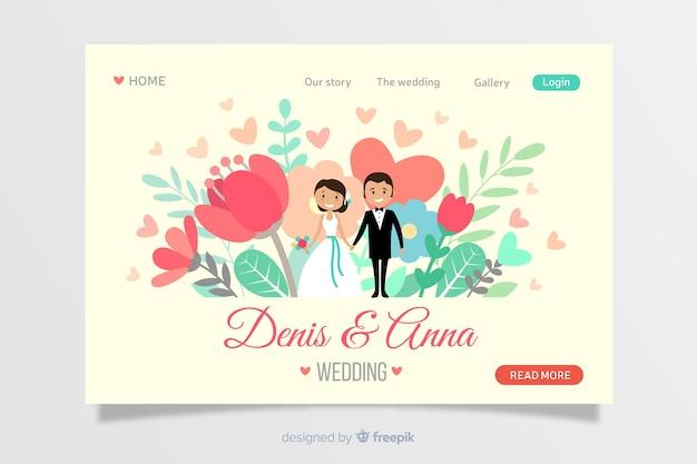 Design piatto per la pagina di destinazione per matrimoni
