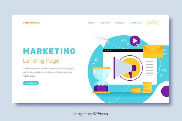 Design piatto per landing page di marketing