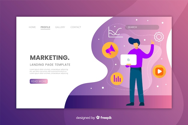 Design piatto per landing page di marketing