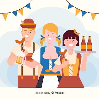 Design piatto persone che celebrano il più oktoberfest