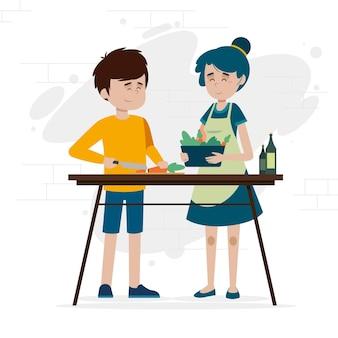 Design piatto persone che cucinano illustrazione