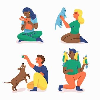 Design piatto persone che giocano con i loro animali domestici