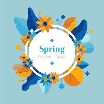 Design piatto primavera cornice floreale sfondo