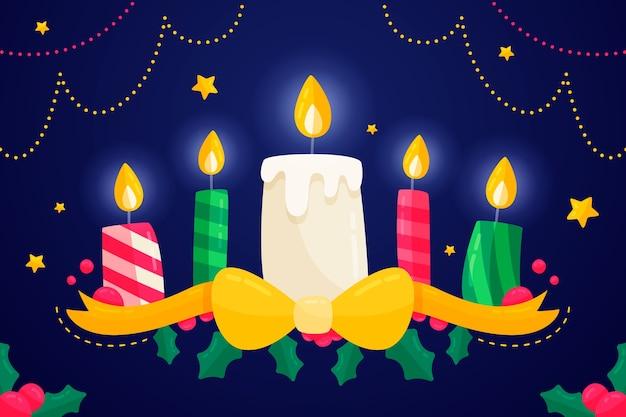 Design piatto sfondo candela di natale