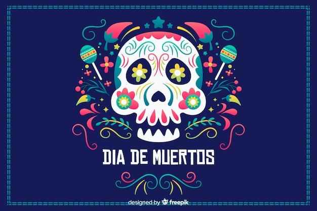 Design piatto sfondo dia de muertos