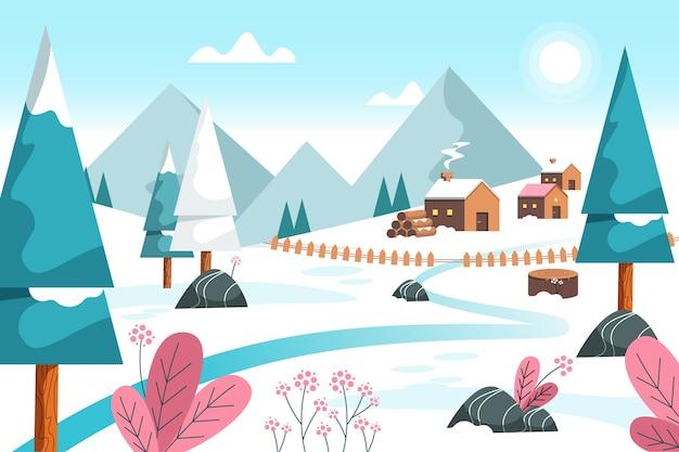 Design piatto sfondo invernale