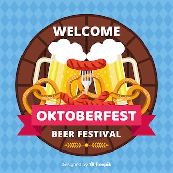 Design piatto sfondo oktoberfest decorativo