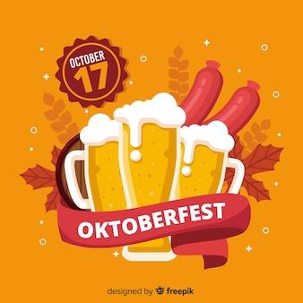 Design piatto sfondo oktoberfest decorativo