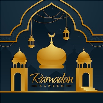 Design piatto sfondo ramadan con moschea