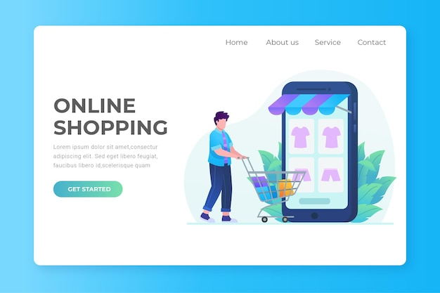 Design piatto shopping online landing page con uomo e carrello