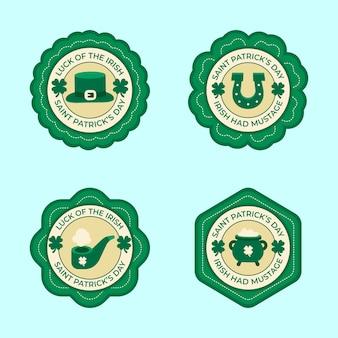 Design piatto st. collezione di etichette per il giorno di patricks