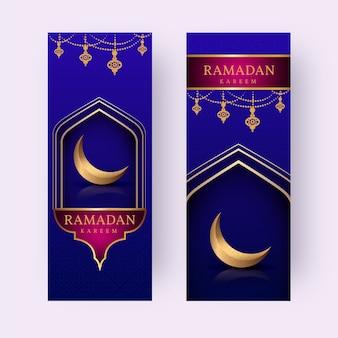 Design piatto stile ramadan banner modello