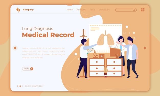 Design piatto sulla diagnosi polmonare o sulla cartella clinica sulla pagina di destinazione