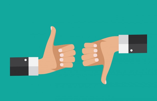 Design piatto thumbs up and down background. illustrazione