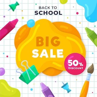 Design piatto torna a illustrazione di vendite di scuola