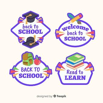 Design piatto torna alla collezione di badge scuola