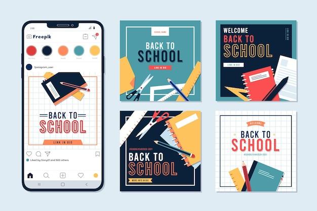 Design piatto torna alla collezione di post instagram di scuola