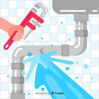 Design piatto tubo lavello rotto