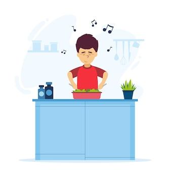 Design piatto uomo che cucina illustrazione