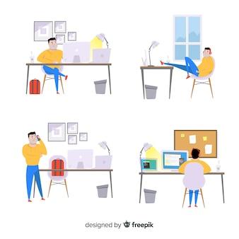 Design piatto vettoriale con attività quotidiane del programmatore