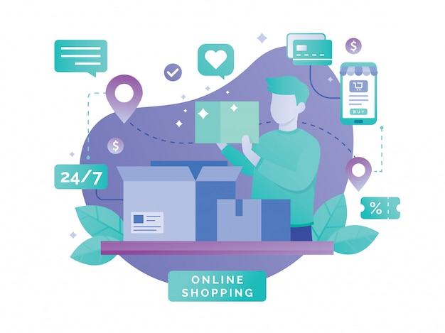 Design piatto vettoriale con l'e-commerce e lo shopping online