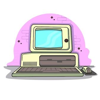 Design piatto vintage retrò vintage personal computer software
