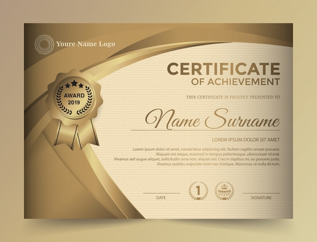 Design premium modello certificato dorato.