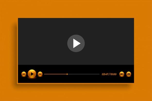 Design premium modello lettore video in stile dorato
