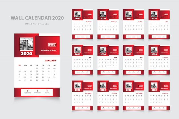 Design professionale del calendario murale 2020