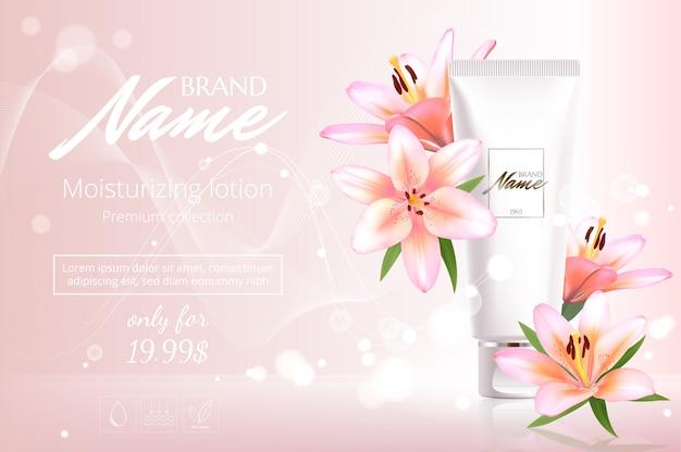 Design pubblicitario per prodotti cosmetici con fiori. disegno vettoriale del pacchetto cosmetico. banner pubblicitario di profumo.