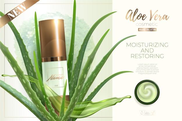 Design pubblicitario per prodotti cosmetici. crema idratante, gel, lozione per il corpo con estratto di aloe vera.