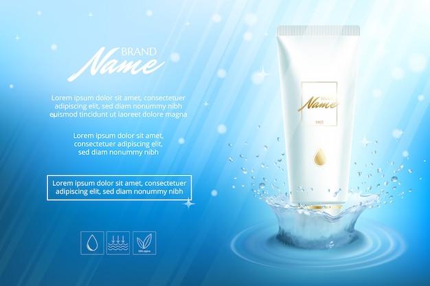 Design pubblicitario per prodotti cosmetici. crema idratante, gel, lozione per il corpo con vitamine.
