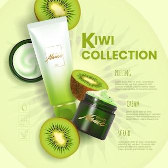 Design pubblicitario per prodotti cosmetici. crema idratante, gel, scrub, lozione per il corpo con estratto di kiwi.