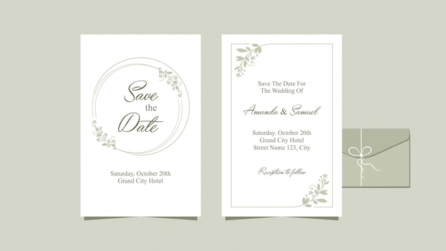 Design pulito per invito di nozze