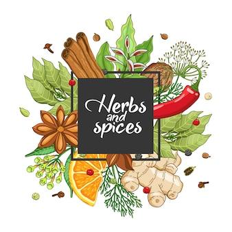 Design quadrato invernale con spezie ed erbe aromatiche