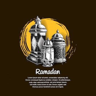 Design ramadan con lanterna