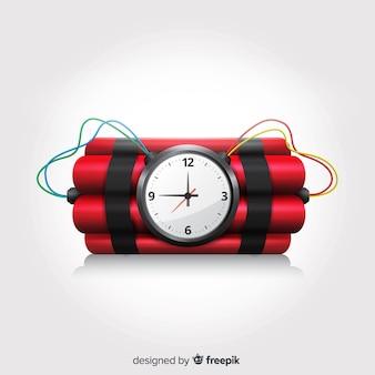 Design realistico bomba a orologeria con sfondo bianco