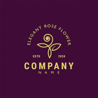 Design retrò vintage bellissimo logo fiore rosa