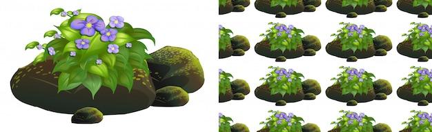 Design seamless con fiori viola su pietre di muschio